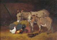 donkeys and chickens in a stable by arthur batt