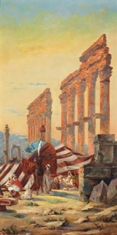 campement à baalbeck by august voigt