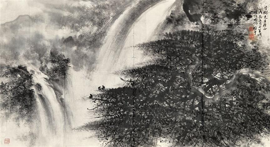 山水(overlooking the waterfall) by li xiongcai