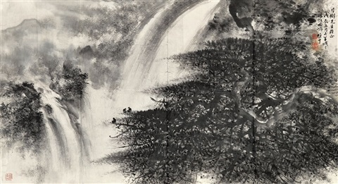 山水overlooking the waterfall by li xiongcai