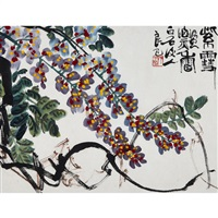 flowers and grapes (2 works) by qi liangsi