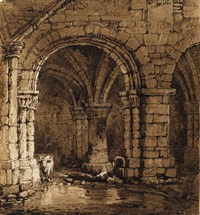 the crypt at kirkstall abbey, yorkshire by samuel prout