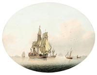 sailing vessels at sea by samuel atkins