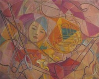 abstract with face and french horn by carl lindborg