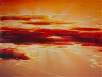 rising sun backdrop (+ another; 2 works) by paul graham