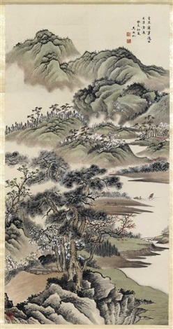 a spring landscape with fishing boats by wu hufan