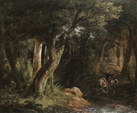 a king crossing a woodland stream by robert léopold leprince