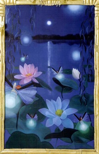 nocturnal lily pond with fairies by frank moore