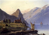 vestlandsfjord med kirke by joachim frich