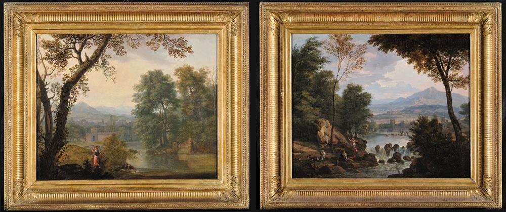 paesaggio arcadico con lavandaia presso un fiume (+ paesaggio arcadico con pastore; pair) by isaac de moucheron