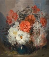roses épanouies by louis auguste victor henno
