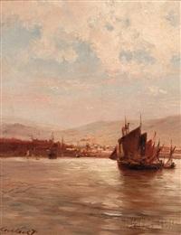 harbor at sunset by hermanus koekkoek the elder