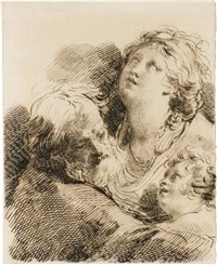 studies of three figures, head and shoulders: a bearded man, a woman and a child by mauro gandolfi