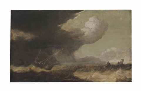 fishing smacks and a rowing boat in choppy waters by pieter mulier the elder