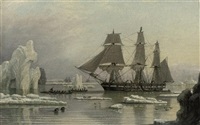 "the davis strait fishery with the whaler ""swan"" in the foreground by john ward of hull"