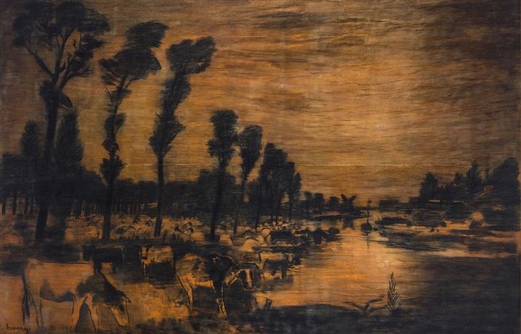 paysage de la lys avec vaches by albert saverys