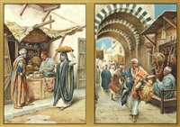 scenes in the bazaar, probably cairo, a pair by vittorio rappini