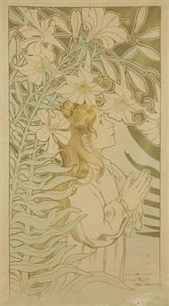 jeune fille en prière dans un décor de lys by firmin bouisset