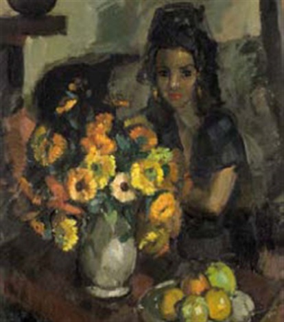 a woman with a bowl of flowers and a plate of fruit by clement serneels