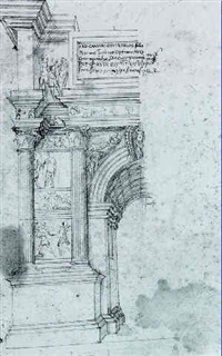 recto: a study in half elevation of the arch of trajan   benevento. verso: a study of an entablature by antonio da sangallo the elder