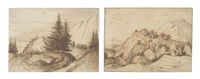 a wooded rocky outcrop (+ a mountainous landscape with fir trees; 2 works) by jacob esselens
