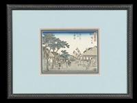 suite of six prints, including returning sailboats at gyotoku (from eight views of the environs of edo); fujisawa: the yatsuya station [...] by ando hiroshige
