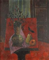 nature morte à la pomme, à la poire et au bouquet by tony agostini