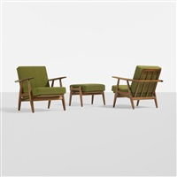 pair of lounge chairs, model ge240 and ottoman by hans j. wegner