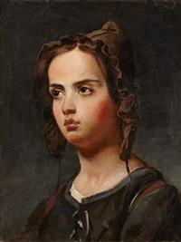 portrait de frédérique, fille de l'artiste by jean-jacques-françois monanteuil