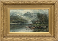 highland cattle watering by a cottage (+ highland cattle in the river; pair) by a. lewis