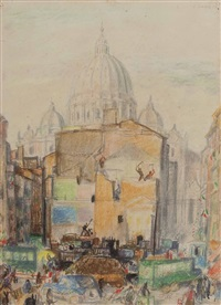 der petersdom in rom (+ baustelle, verso) by georg jung