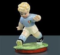 piccolo giocatore di calcio in maglia azzurra by tarcisio tosin