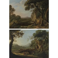 landscapes with travellers (2 works) by angeluccio