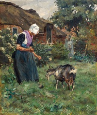 larense boerin met geit by frans langeveld
