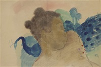 jeune femme noire au paon by georges manzana-pissarro