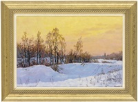 the sun setting over a snowy landscape by yevgeni gololobov