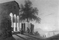 betende trachtenfrauen vor einer kapelle am genfersee by charles joseph auriol
