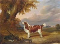 a favorite spaniel in a landscape by george jackson