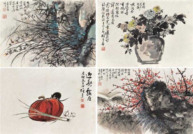 花卉(various subjects) (4 works) by li xiongcai