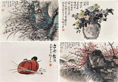 花卉various subjects 4 works by li xiongcai