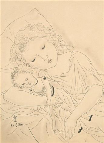 fillette et sa poupée by léonard tsuguharu foujita