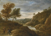travellers resting on a sandy path in a pastoral landscape by david teniers the younger