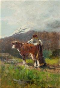contadino e vitello by lorenzo delleani