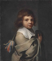 portrait of a boy, half-length, in a grey cloak and white collar by jacques vaillant