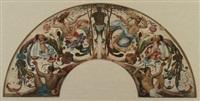 cartoon for a mural design (frieze of classical figures) by ernst friederich von liphart