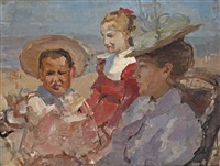 andrea and jan de bloeme with their governess, scheveningen by isaac israels