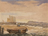 coastal scene with fishermen and boats by samuel prout