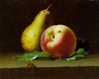 poire, peche et prune sur un entablement by pierre etienne remillieux