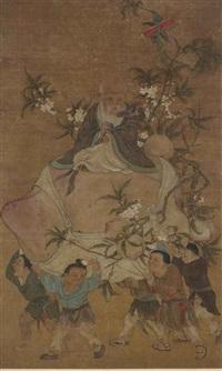 shoulao assis sur une pêche de longévité by anonymous-chinese (qing dynasty)