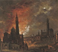 a city on fire at night with townsfolk fleeing by daniel van heil